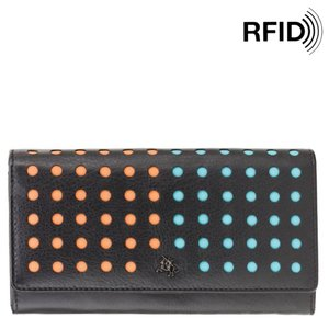 345a0896df2d Женский кошелек из натуральной кожи Visconti Dotcom Hoop DOT2,  DOT-Black/Aqua
